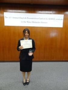 3位に入賞した高須麗奈さん